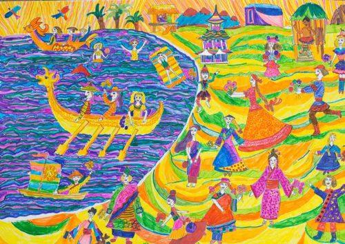 """""""Тихий океан - океан дружбы"""", фломастеры. Иксанова Алена, 9 лет г. Поронайск, ДХШ (Преподаватель: Королева Т.Я.)"""