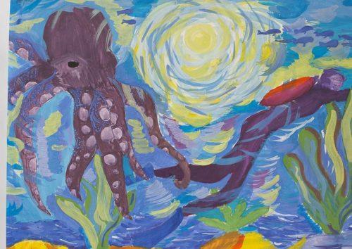 """""""В луче света"""", гуашь. Новгородов Никита, 11 лет, г. Комсомольск-на-Амуре, МОУК ДОД """"Детская художественная школа"""" (Преподаватель: Парадовская А.Б.)"""